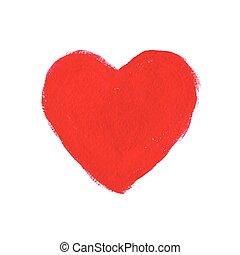 serce, akryl, czerwony