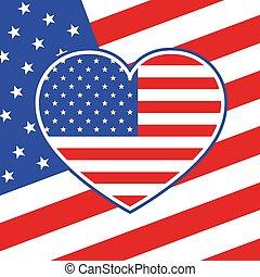 serce, amerykanka, ilustracja, bandera, wektor, style.