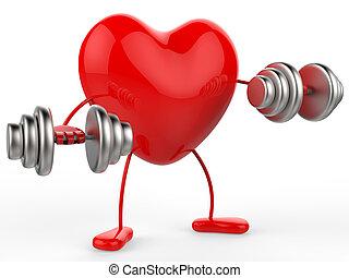 serce, atak, zdobywać, aerobic ciężary, widać