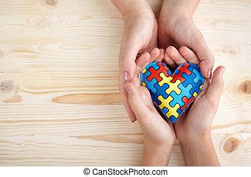 serce, autistic, dziecięcy, próbka, zagadka, wyrzynarka, autism, dzień, siła robocza, świat, albo, świadomość, kobiety