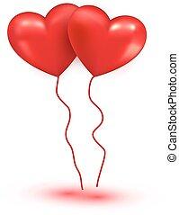 serce, błyszczący, czerwony, balony