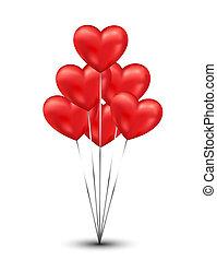serce, błyszczący, tło, balony