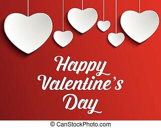 serce, backgro, dzień, czerwony, valentine