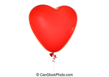 serce, balloon, biały, odizolowany, czerwony