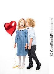 serce, balloon, dzieciaki, mający kształt