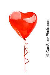 serce, balloon, odizolowany, czerwony
