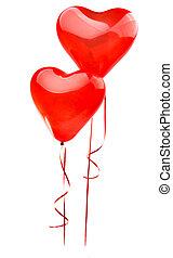 serce, balloon, odizolowany, tło, biały czerwony