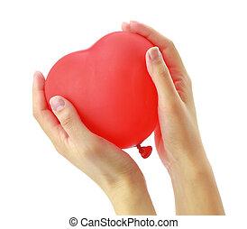 serce, balloon, siła robocza, czerwony, kobietki