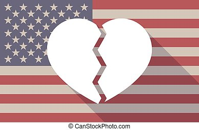 serce, bandera, ikona, usa, złamany