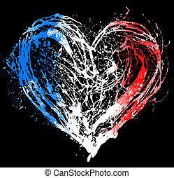 serce, bandera, symboliczny, kolor, francuski