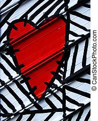 serce, barwiony, na, metal