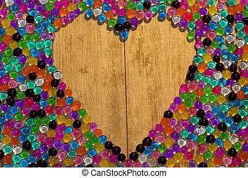 serce, barwny, dużo, balls., hel, beads., hydrogel, żel