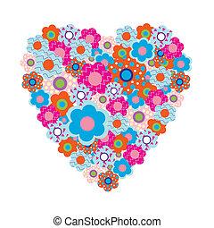 serce, barwny, flo, piękny