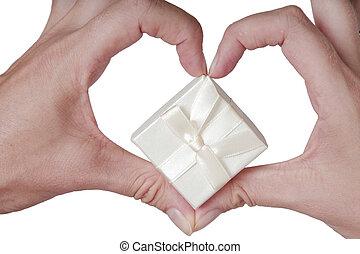 serce, biały, dfingers, dar, mający kształt