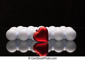serce, biały, piłki, golf, czerwony