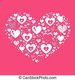 serce, biały, valentine, s, dzień