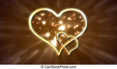 serce, blask, złoty