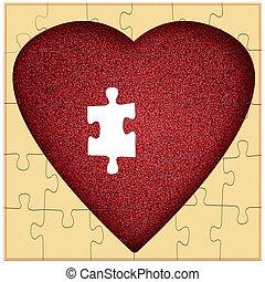 serce, brakujący, mój, zagadka, -, kawał, valentine, pojęcie