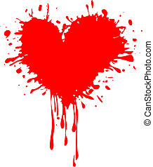 serce, -, brudny, valentine\'s, dzień, czerwony