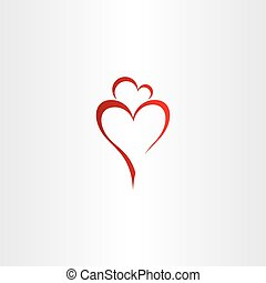 serce, córka, logo, wektor, macierz, miłość, czerwony, ikona