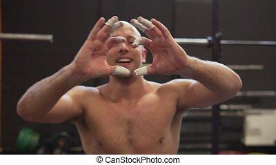 serce, calloused, trening, twardy, handsafter, stosowność, człowiek, sala gimnastyczna, gest, widać