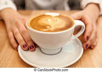 serce, cappuccino, kształt, filiżanka, piana, siła robocza