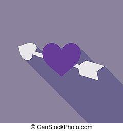 serce, card., cupid's, złoty, valentine, powitanie, ilustracja, przedziurawiony, day., wektor, luksus, strzała, dzień, czerwony, szczęśliwy