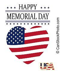 serce, card., usa, świąteczny, krajowy, postcard., ilustracja, honorować banderę, na, pamięć, święto, style., dzień, szczęśliwy