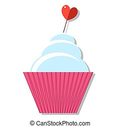 serce, cupcakes, płaski, shadow., vector., ikona, wtykać, projektować, śmietanka