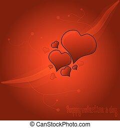 serce, czerwone tło, valentine