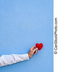 serce, czerwony, dzień, karta, valentine