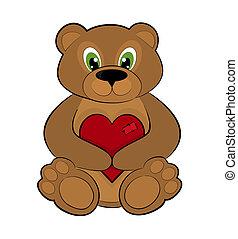 serce, czerwony, dzierżawa, niedźwiedź, teddy