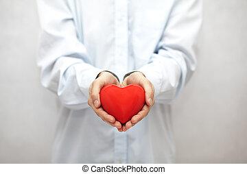 serce, czerwony, siła robocza