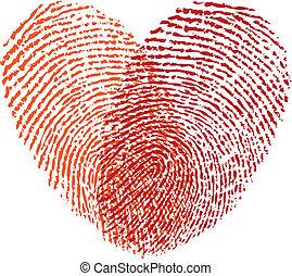 serce, czerwony, wektor, odcisk palca