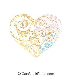 serce, dekoracje, różowy, próbka, Valentine, pomarańcza,...