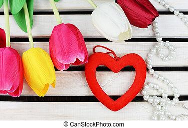 serce, dekoracje, valentine, tulipany, kwiaty, dzień