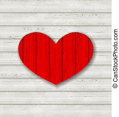 serce, drewniany, valentine, tło, dzień, czerwony