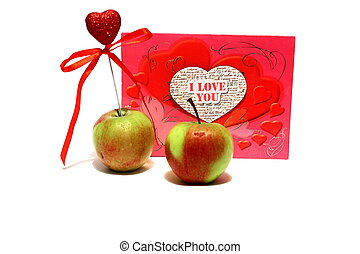 serce, dwa, jabłka, valentine