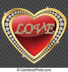 serce, dzień, diament, ve, valentine