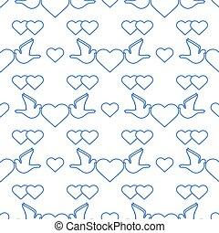 serce, dzień, gołębica, wektor, ślub, valentine, próbka