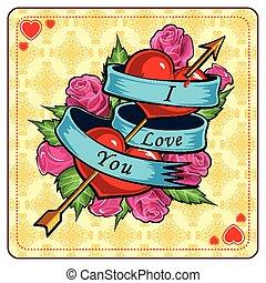 serce, dzień, róża, tło, valentine