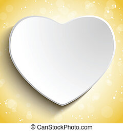 serce, dzień, tło, złoty, valentine