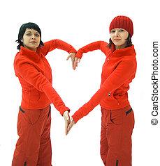 serce, dziewczyny, czerwony, pokaz