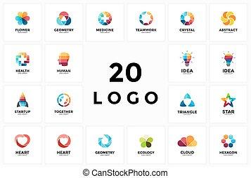 serce, ekologia, startup, znak, mózg, projektować, logo, ...