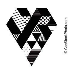 serce, geometryczny, czarnoskóry, dzień, valentine
