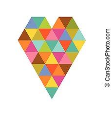 serce, geometryczny, dzień, barwny, valentine