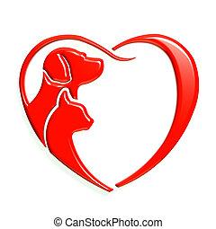 serce, graficzny, miłość, pies, kot, czerwony, 3d