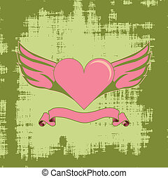 serce, grunge, skrzydło