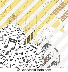 serce, grunge, tło, muzyka