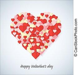 serce, grupa, stock., valentine, concept., tło., wektor, dzień